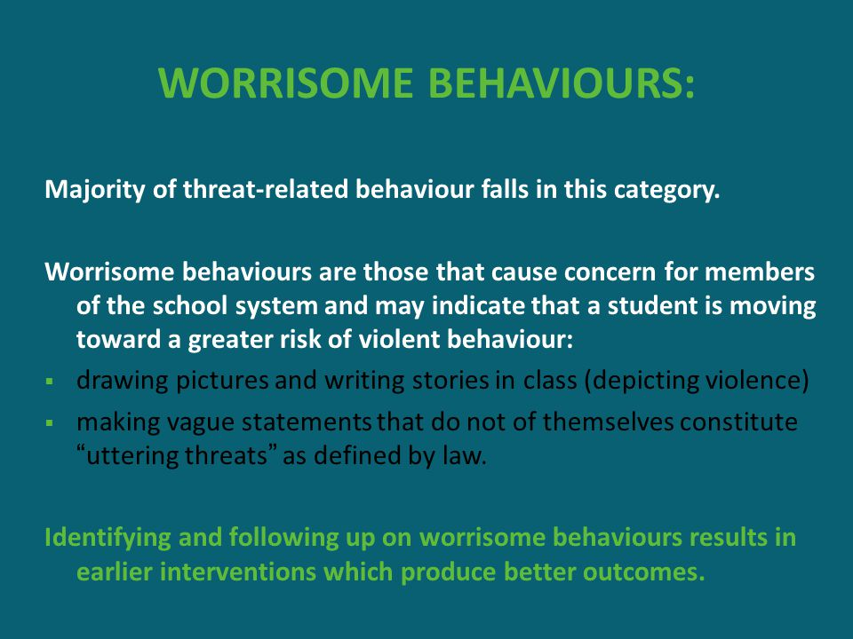 WORRISOME BEHAVIOURS: