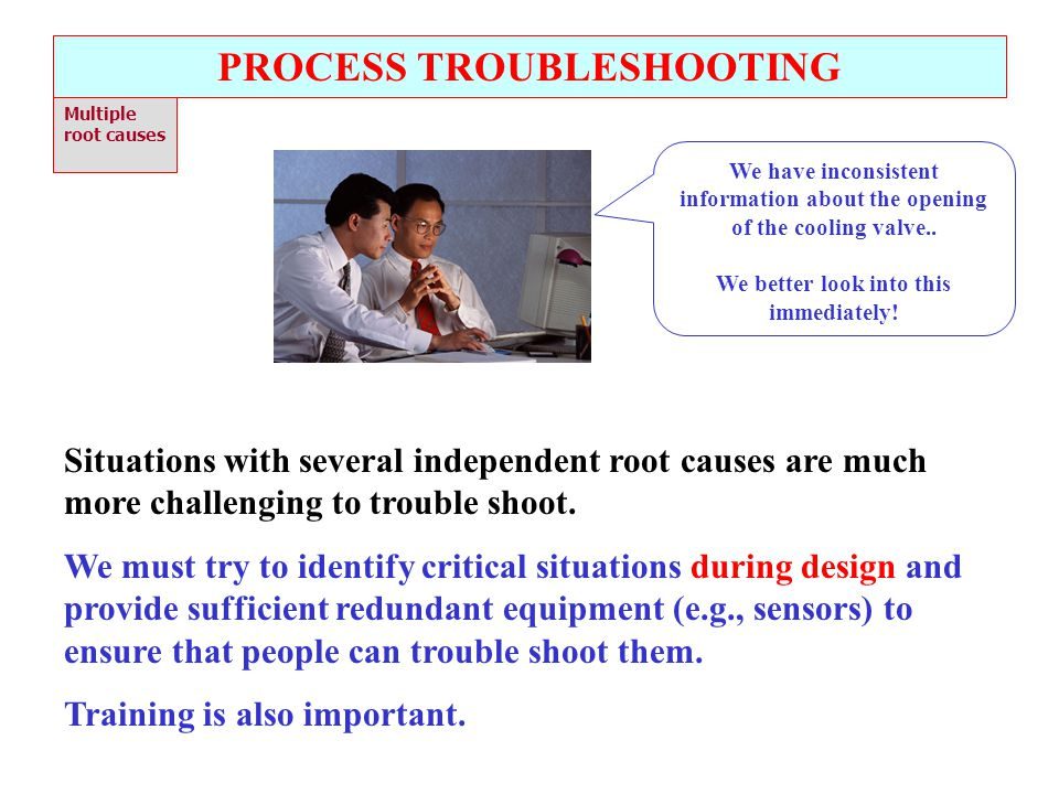 PROCESS TROUBLESHOOTING We better look into this immediately!