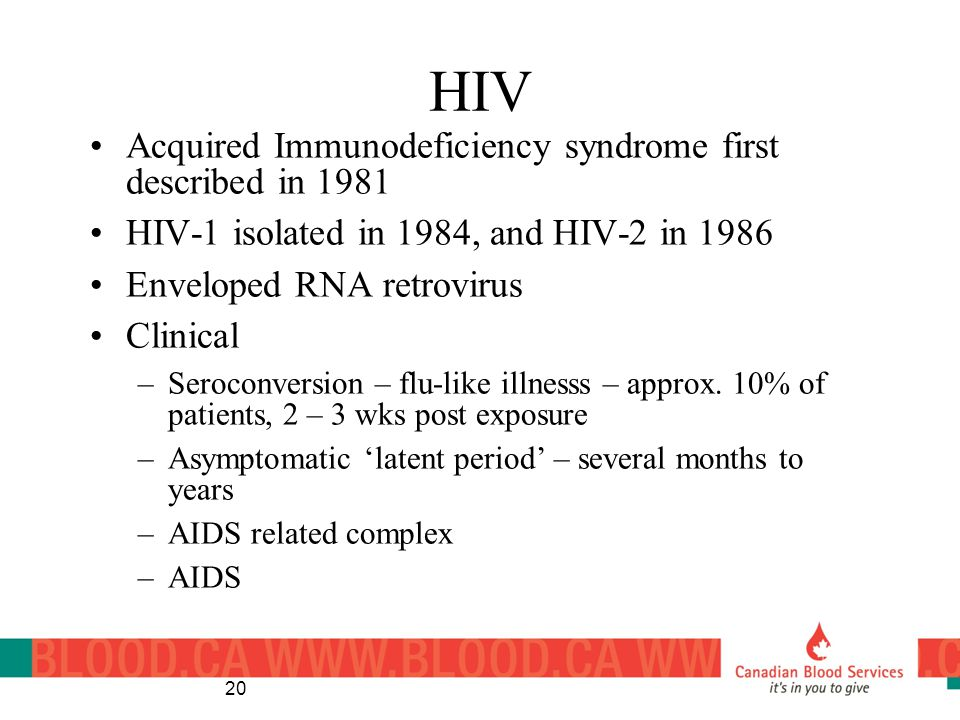 HIV Acquired Immunodeficiency syndrome first described in 1981
