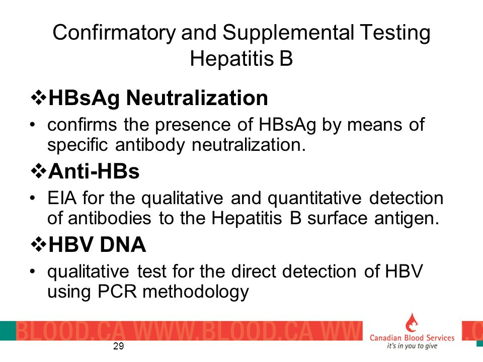 Confirmatory and Supplemental Testing Hepatitis B