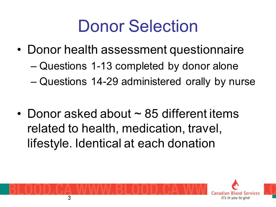 Donor Selection Donor health assessment questionnaire