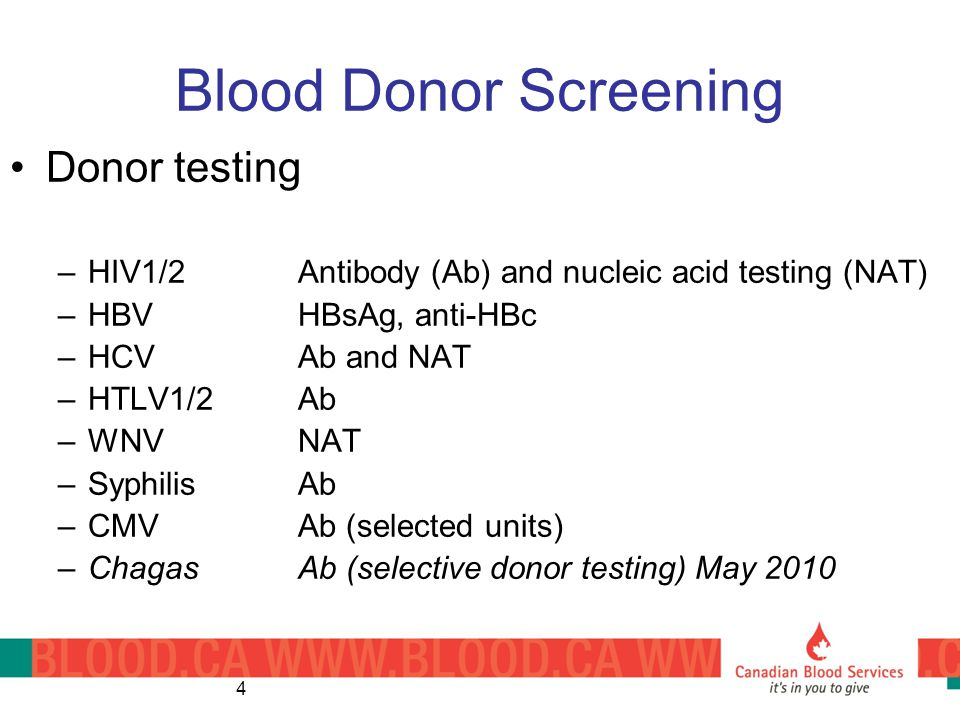 Blood Donor Screening Donor testing