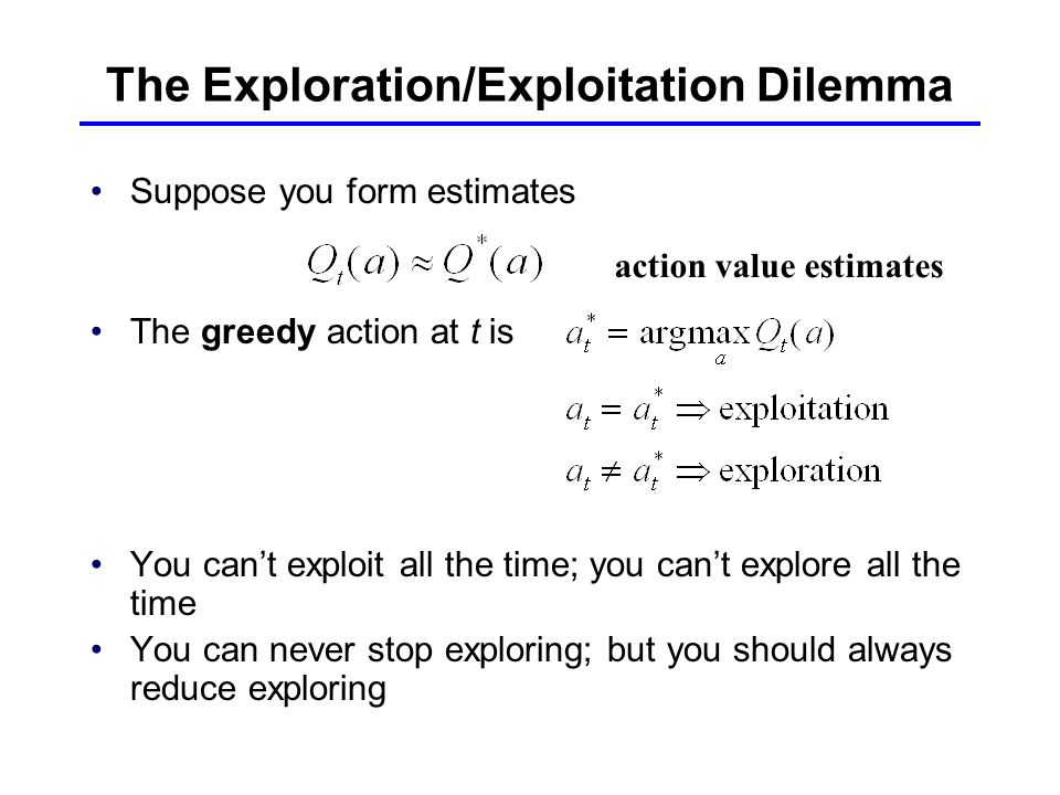 The Exploration/Exploitation Dilemma