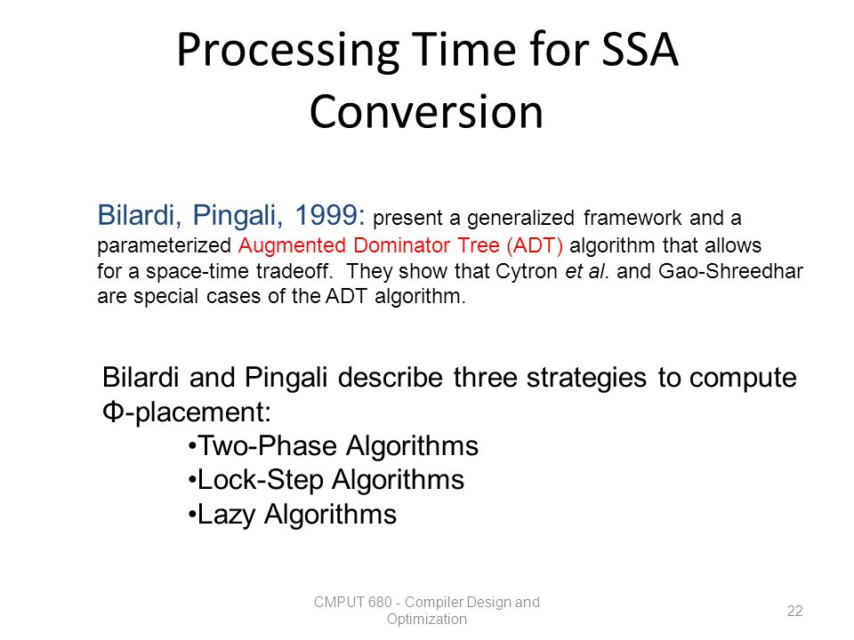 Processing Time for SSA Conversion