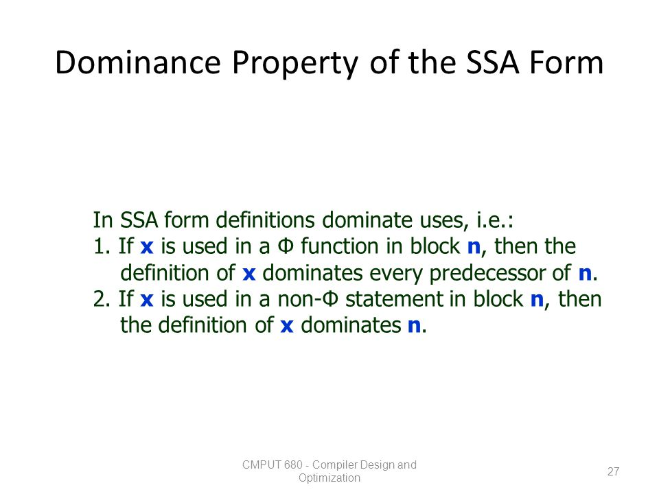 Dominance Property of the SSA Form