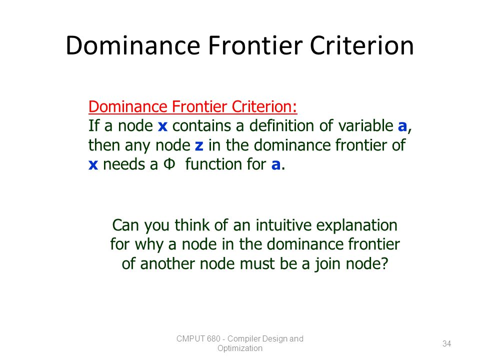 Dominance Frontier Criterion