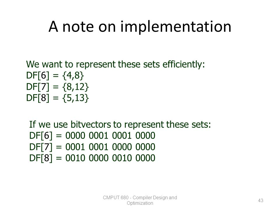 A note on implementation