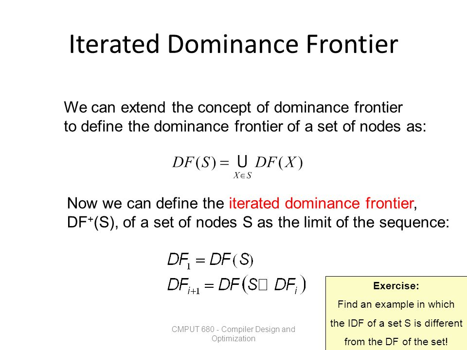 Iterated Dominance Frontier