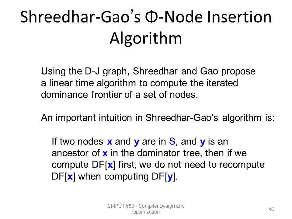 Shreedhar-Gao's Φ-Node Insertion Algorithm