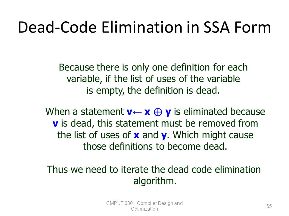 Dead-Code Elimination in SSA Form