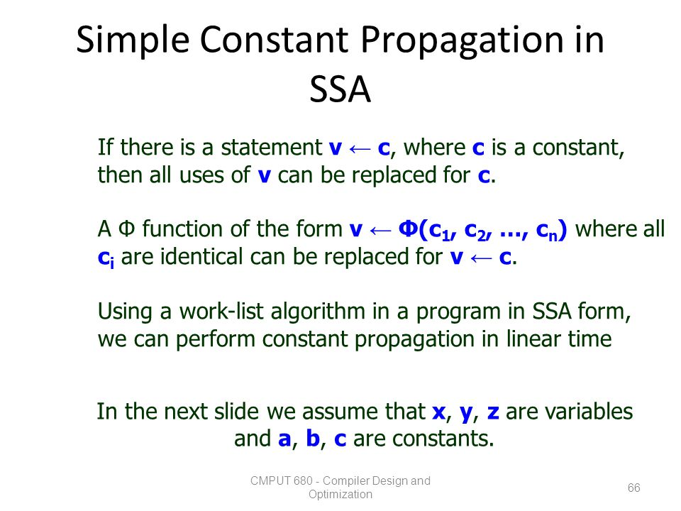 Simple Constant Propagation in SSA