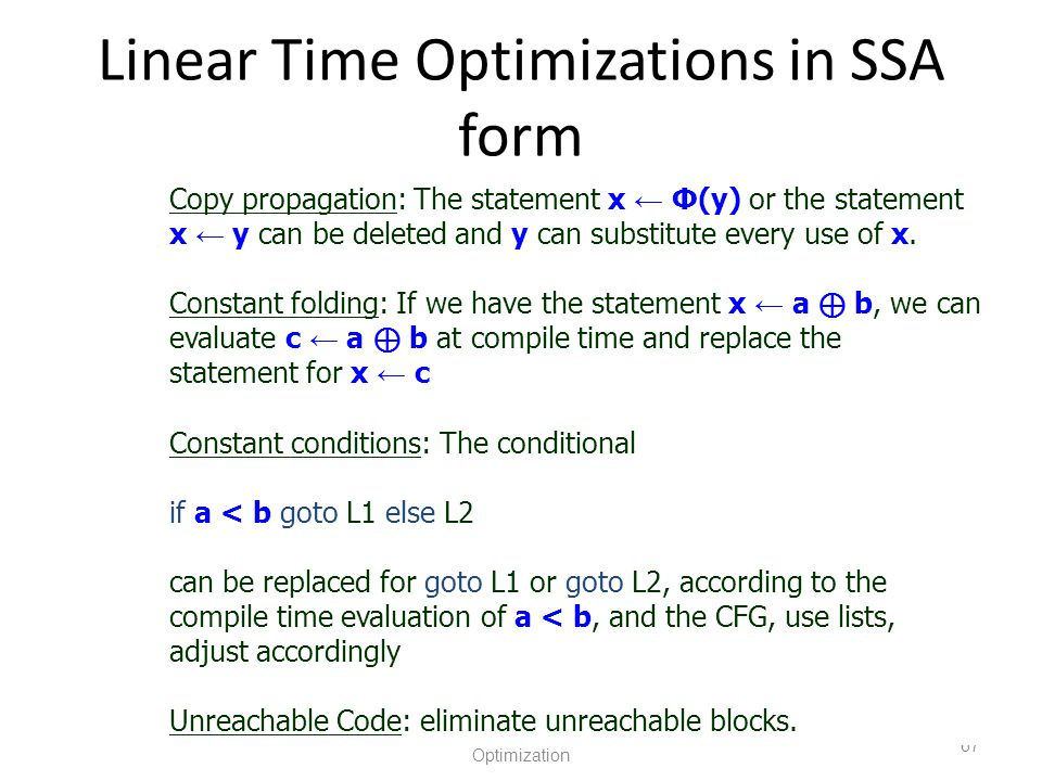 Linear Time Optimizations in SSA form