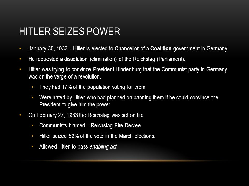 Hitler Seizes Power January 30, 1933 – Hitler is elected to Chancellor of a Coalition government in Germany.
