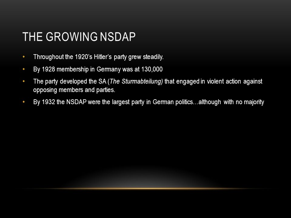 The growing NSDAP Throughout the 1920's Hitler's party grew steadily.