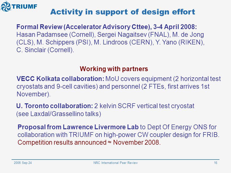 Activity in support of design effort