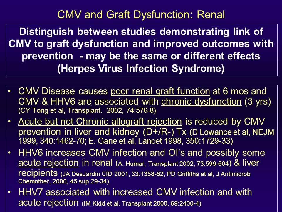 CMV and Graft Dysfunction: Renal