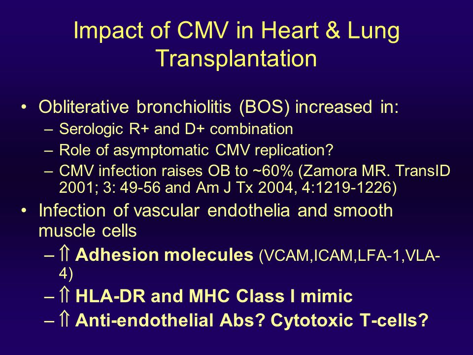 Impact of CMV in Heart & Lung Transplantation