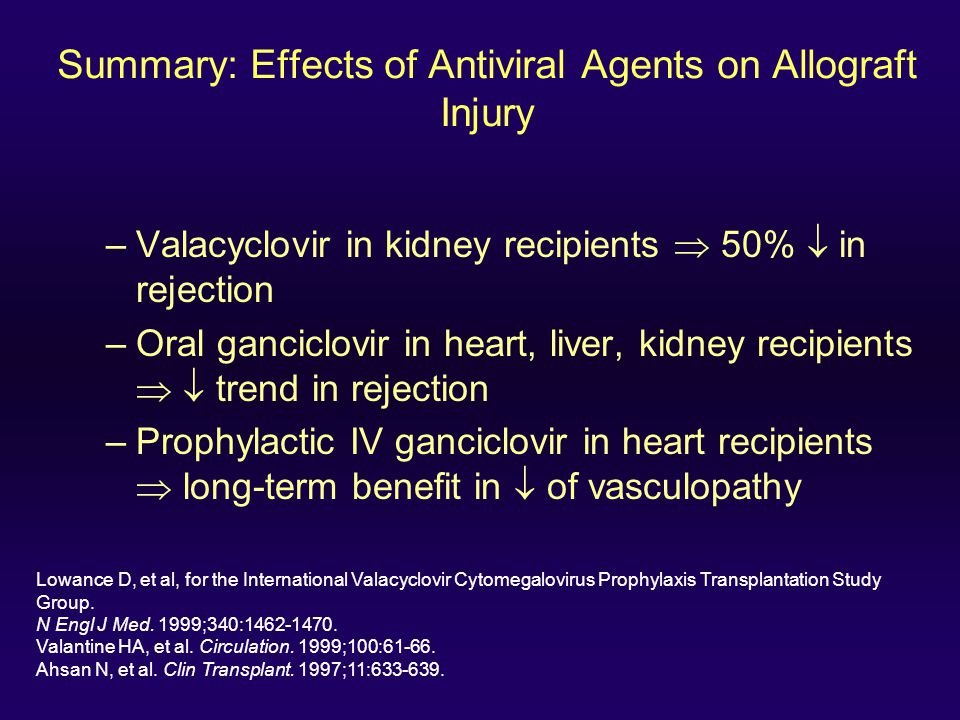 Summary: Effects of Antiviral Agents on Allograft Injury