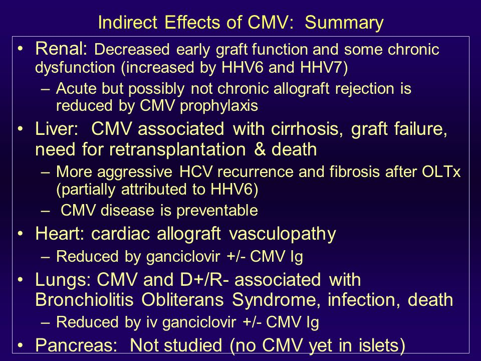 Indirect Effects of CMV: Summary