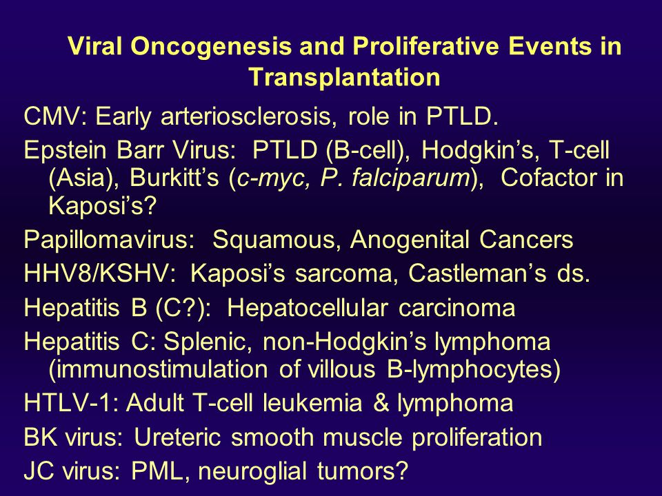 Viral Oncogenesis and Proliferative Events in Transplantation