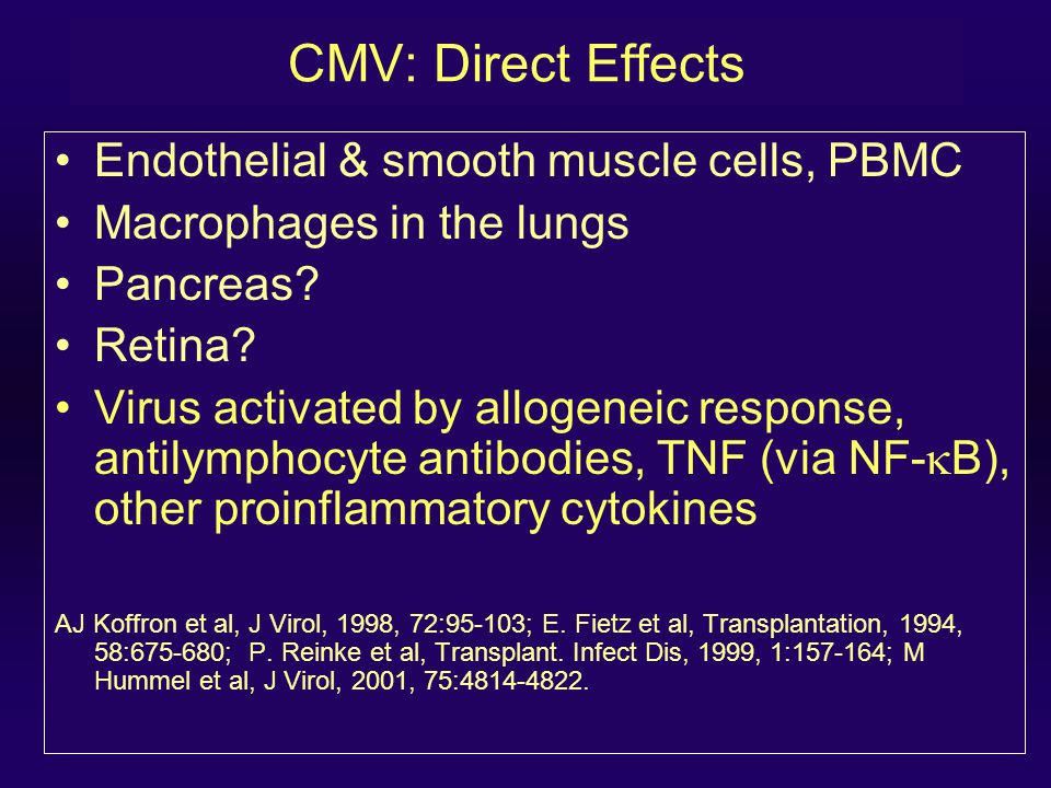 CMV: Direct Effects Endothelial & smooth muscle cells, PBMC