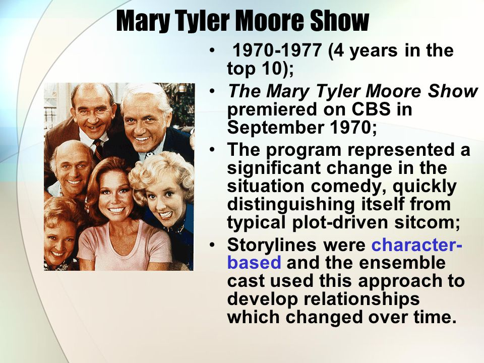 Mary Tyler Moore Show 1970-1977 (4 years in the top 10);