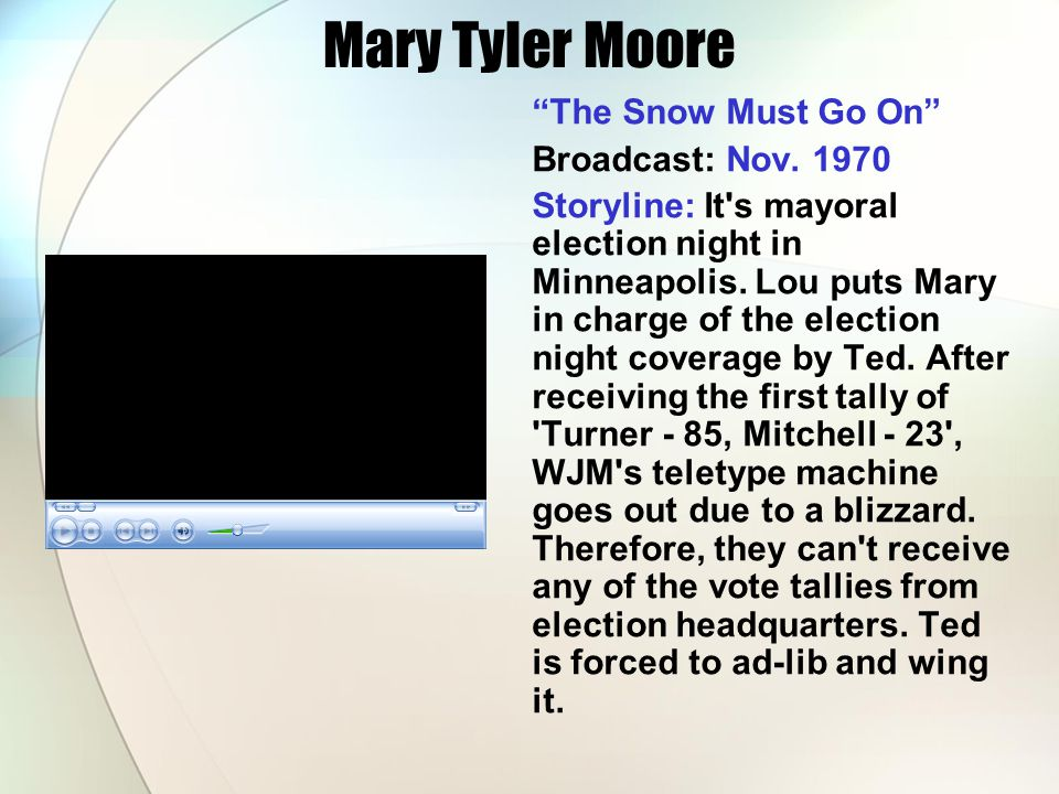 Mary Tyler Moore The Snow Must Go On Broadcast: Nov. 1970