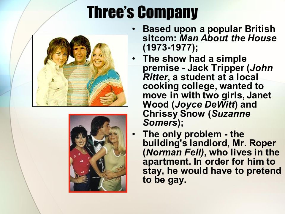 Three's Company Based upon a popular British sitcom: Man About the House (1973-1977);