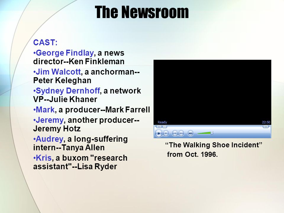 The Newsroom CAST: George Findlay, a news director--Ken Finkleman