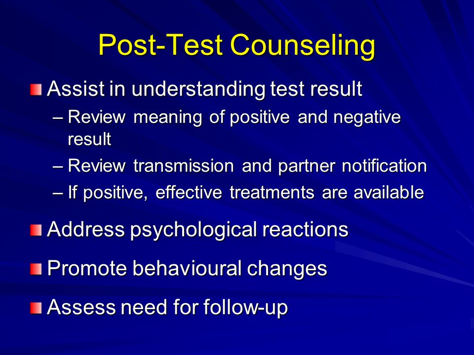 Post-Test Counseling Assist in understanding test result