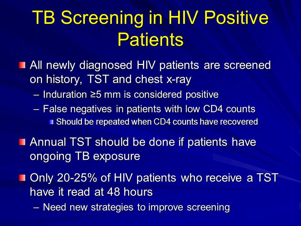 TB Screening in HIV Positive Patients