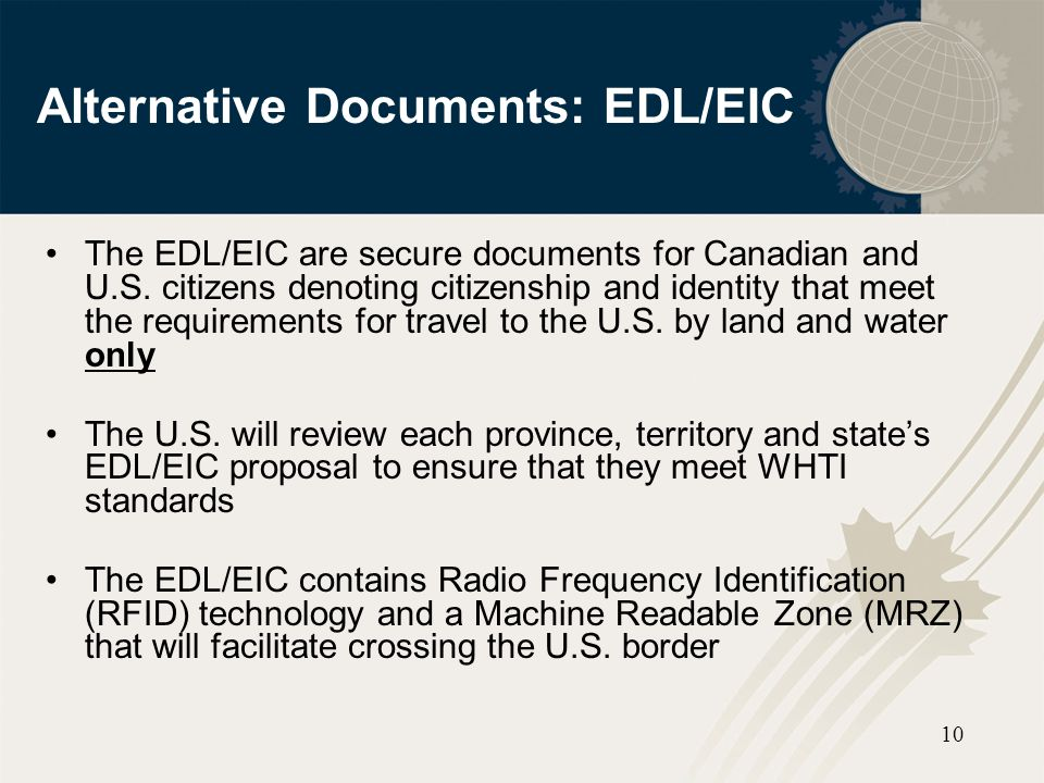 Alternative Documents: EDL/EIC