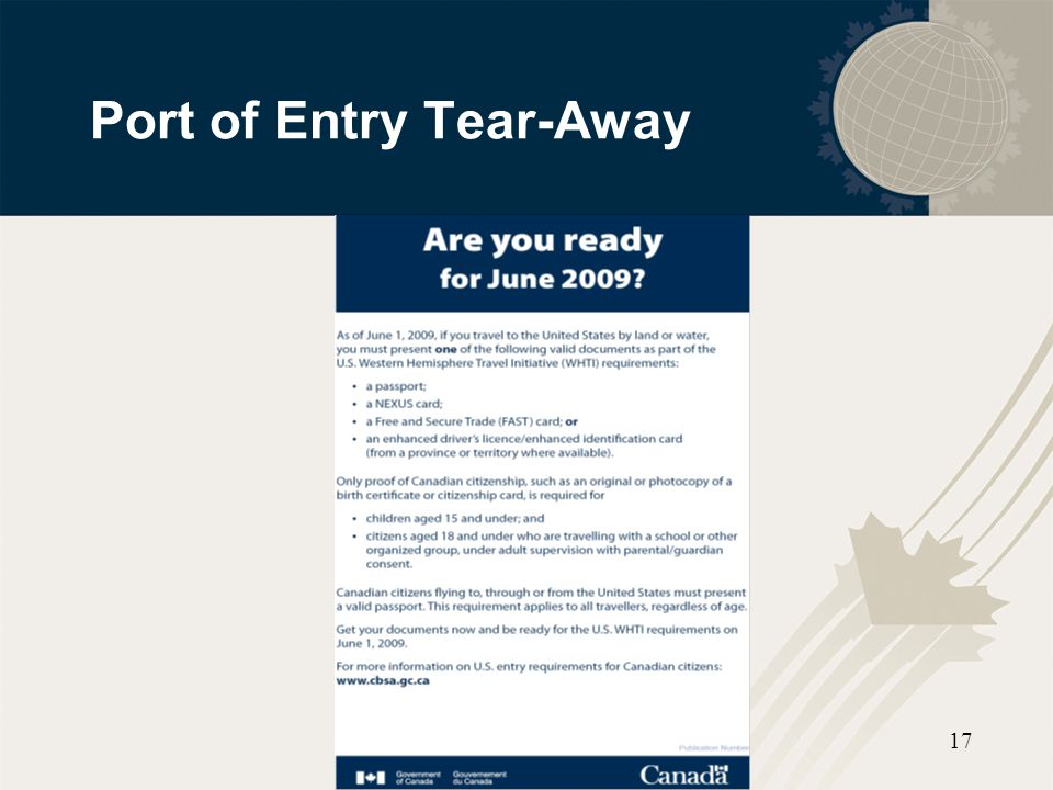 Port of Entry Tear-Away