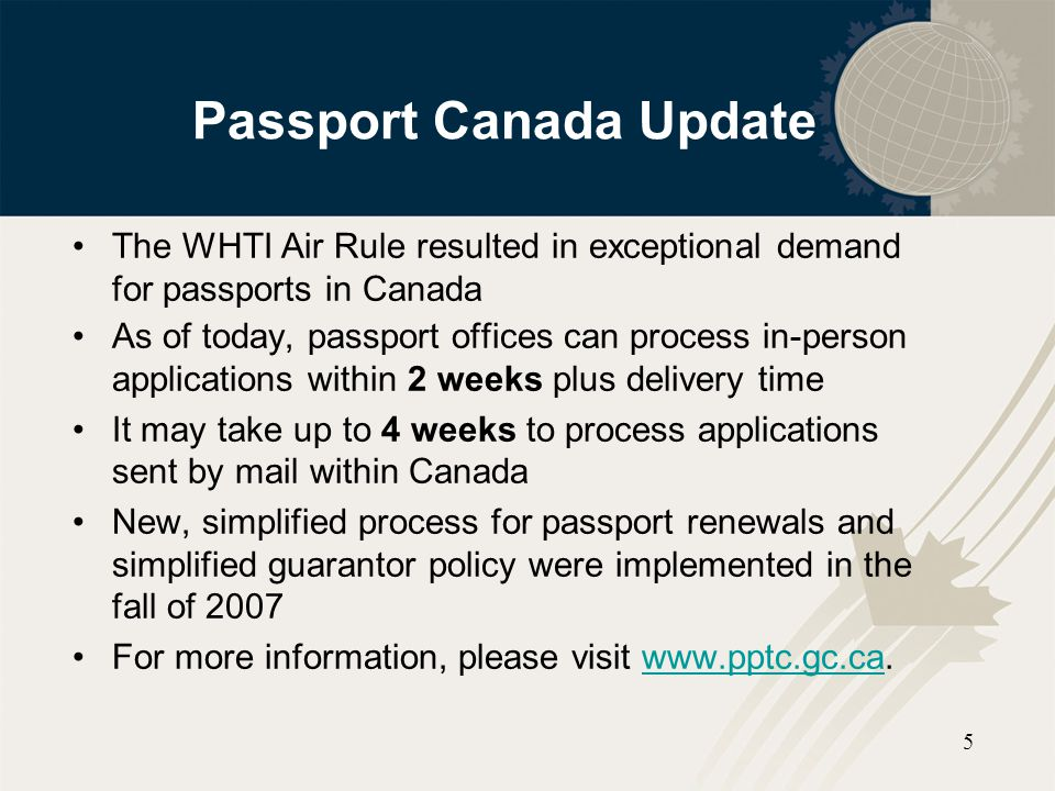 Passport Canada Update
