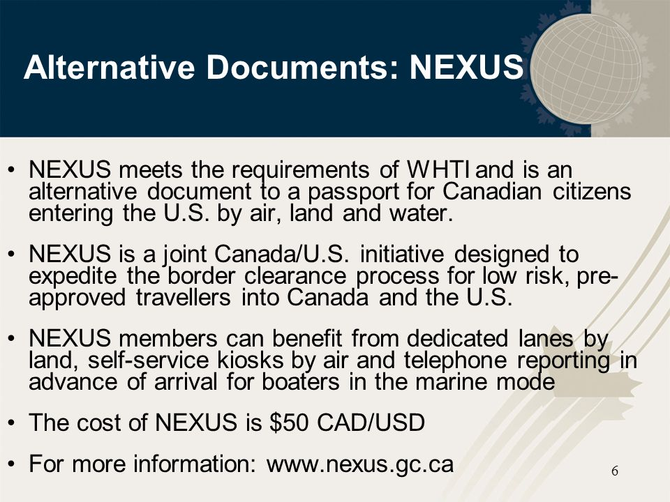 Alternative Documents: NEXUS