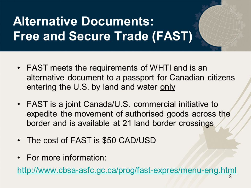 Alternative Documents: Free and Secure Trade (FAST)