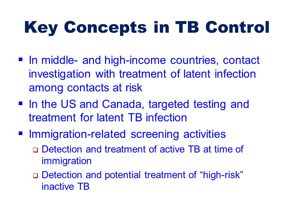 Key Concepts in TB Control