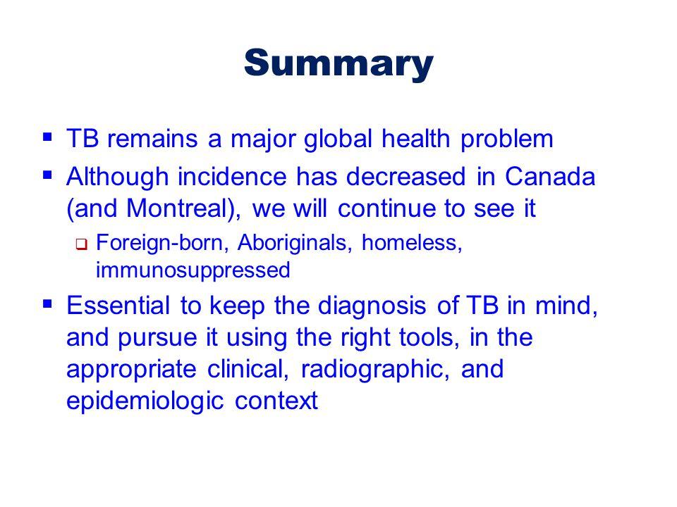 Summary TB remains a major global health problem