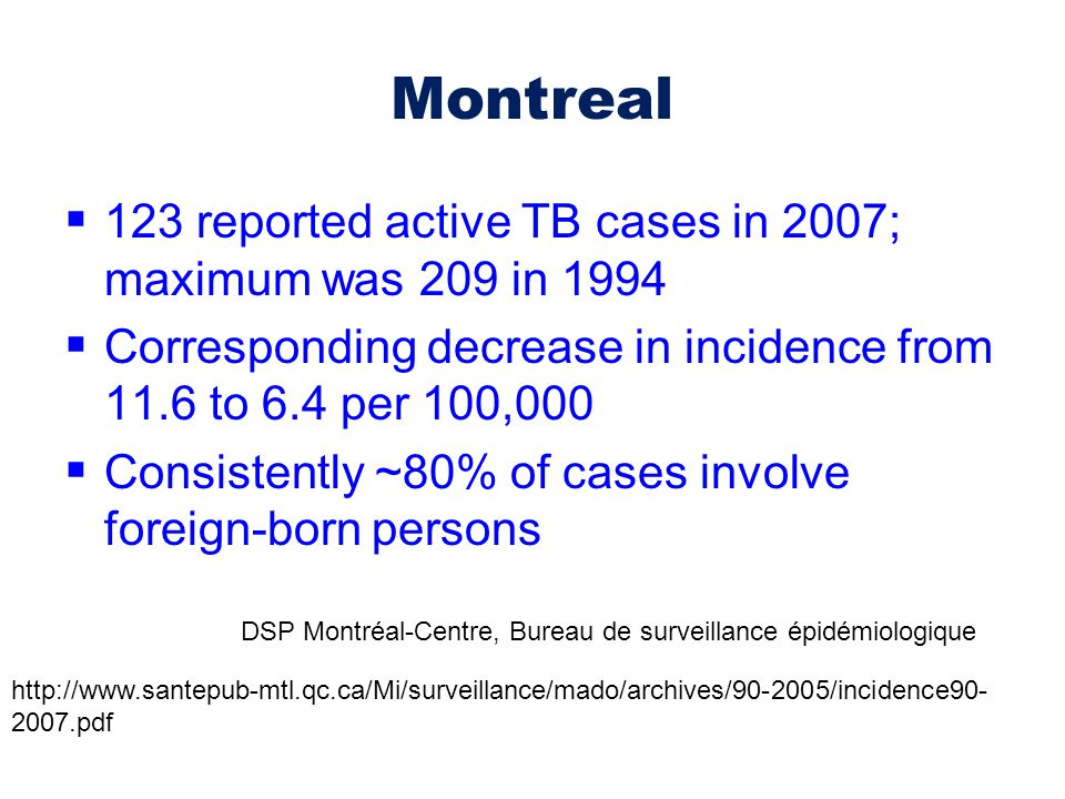 Montreal 123 reported active TB cases in 2007; maximum was 209 in 1994