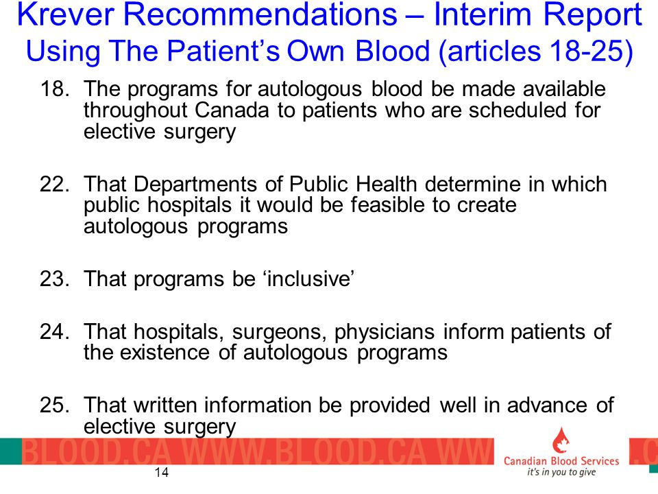 Krever Recommendations – Interim Report Using The Patient's Own Blood (articles 18-25)