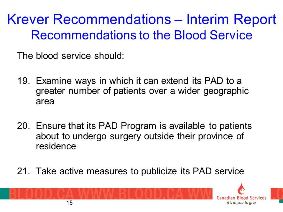 Krever Recommendations – Interim Report Recommendations to the Blood Service