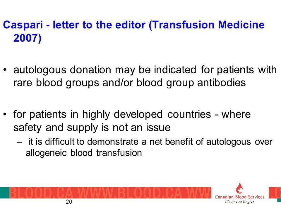 Caspari - letter to the editor (Transfusion Medicine 2007)
