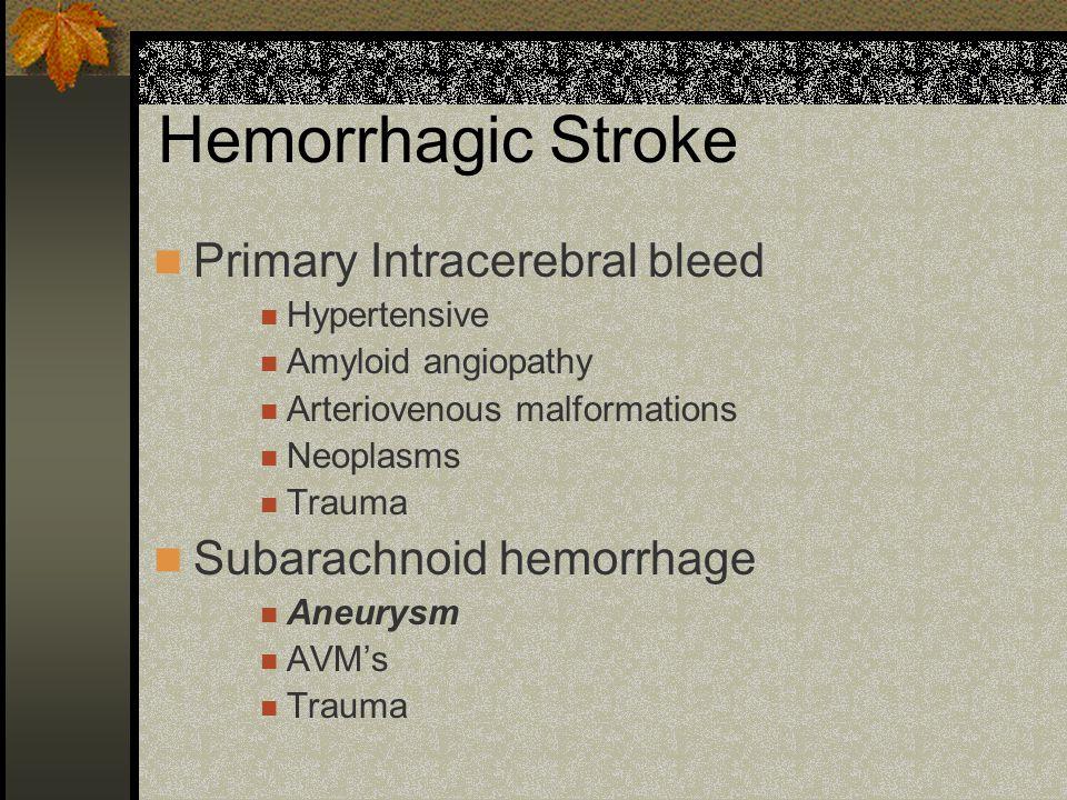 Hemorrhagic Stroke Primary Intracerebral bleed Subarachnoid hemorrhage
