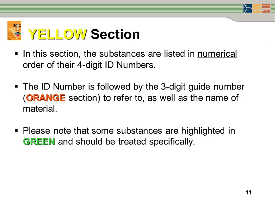 YELLOW Section In this section, the substances are listed in numerical order of their 4-digit ID Numbers.