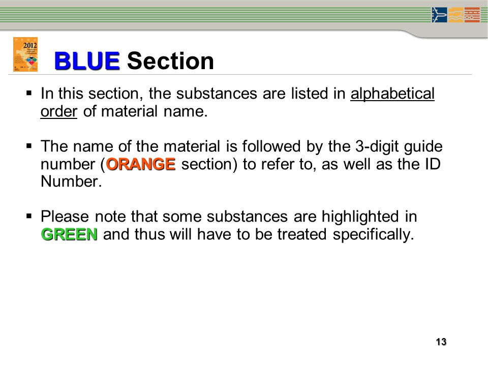 BLUE Section In this section, the substances are listed in alphabetical order of material name.