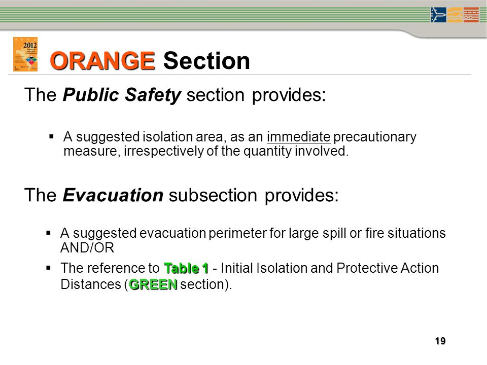 ORANGE Section The Public Safety section provides: