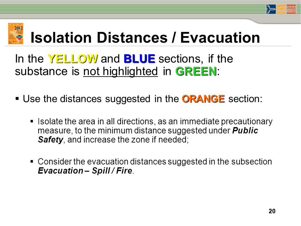 Isolation Distances / Evacuation