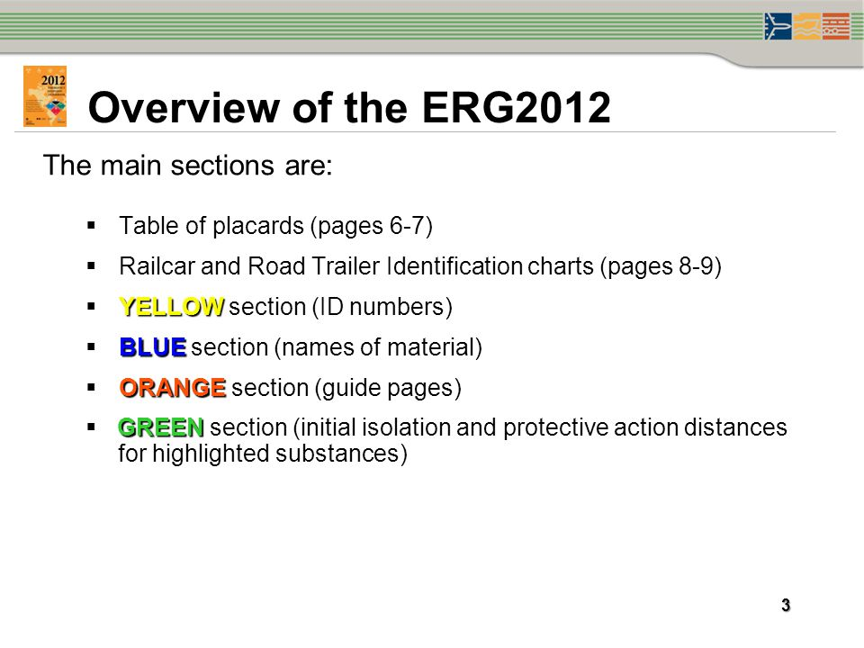 Overview of the ERG2012 The main sections are: