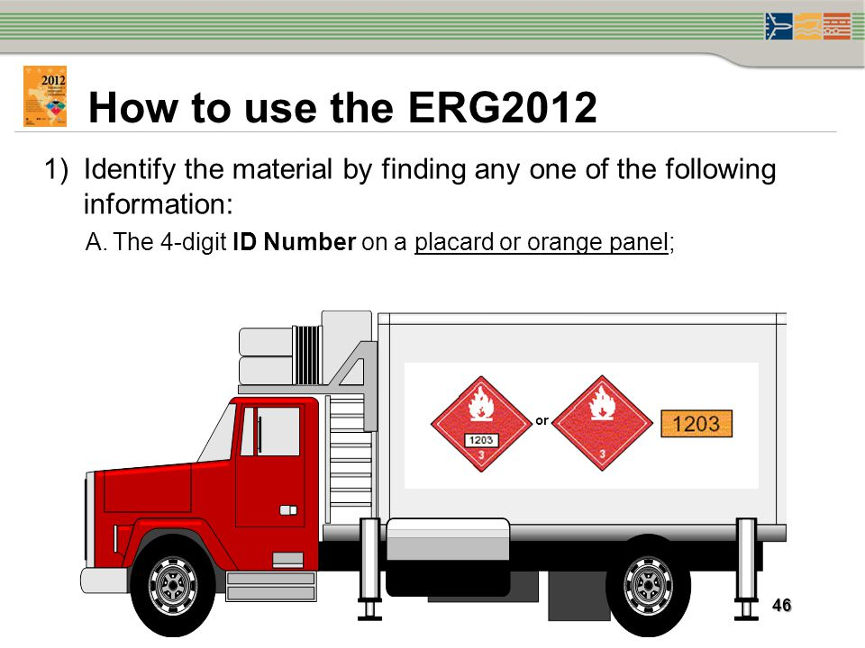 How to use the ERG2012 Identify the material by finding any one of the following information: The 4-digit ID Number on a placard or orange panel;