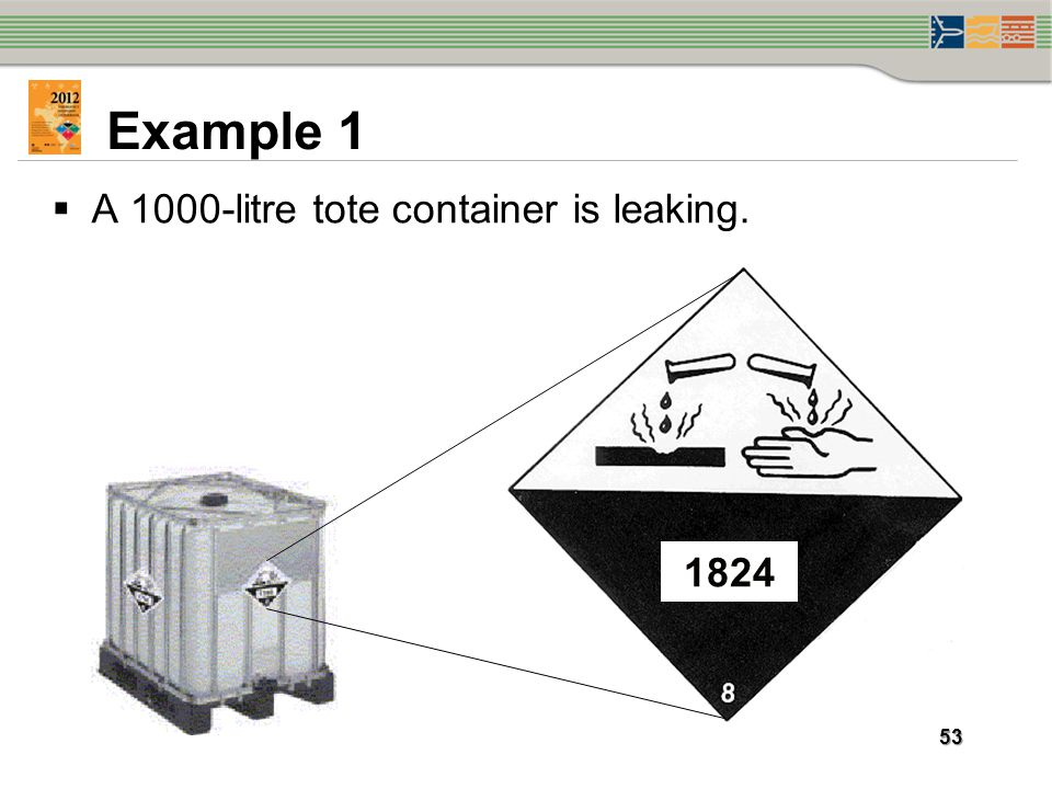 Example 1 A 1000-litre tote container is leaking. 1824